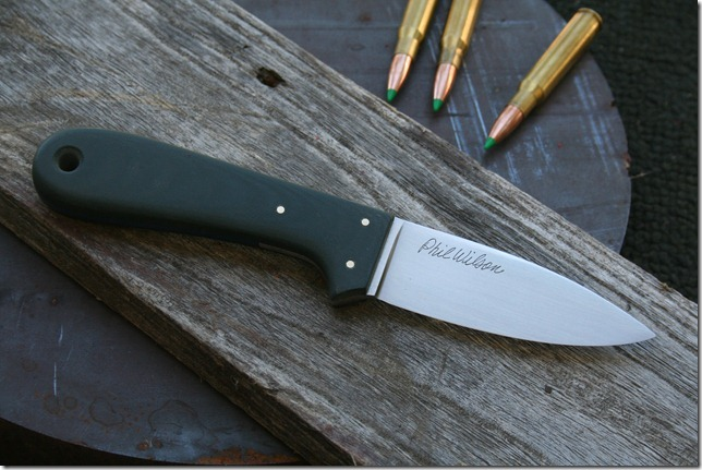 3.5 inch Smoke Creek Drop Point with  					Black Canvas Micarta handle and CPM 10v blade