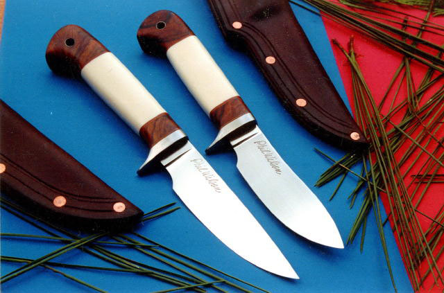 4.5 inch Chalk Creek Semi Skinner and 4.5 inch Silver Peak Drop Pt. <br> both with Ivory and Desert Ironwood handles
