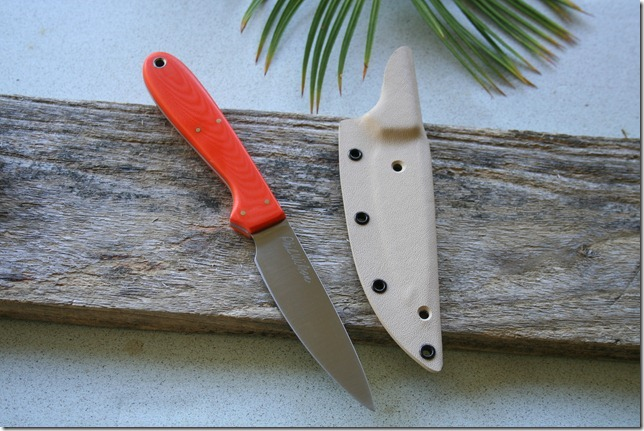 4 inch Bird and Trout with<br>hunter orange G10 handle and 					CPM 154 blade