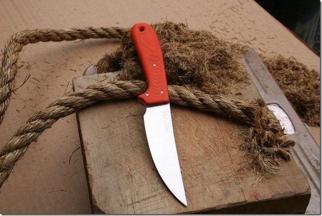 South Fork with Hunter Orange G10 handle and 					CPM S110V partial tang blade