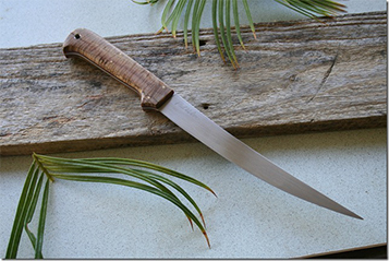 7.5 inch Shelter Cove with Stabilized                Fiddleback Maple handle and BU N690 blade